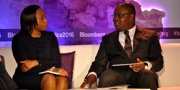 From left to right: Anabela Chambuca, CEO of Bolsa de Valores de Mocambique, and Edoh Kossi Amenounve, CEO of Bourse Régionale des Valeurs Mobilières (BRVM), discuss the state of African stock exchanges at the recent Bloomberg Africa Business and Economic Summit in Cape Town.