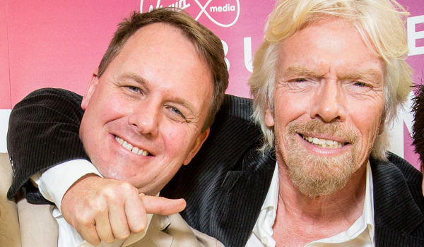 Fourex founder Jeff Paterson and business mogul Richard Branson at Virgin Media's'Pitch to Rich 2015' competition.