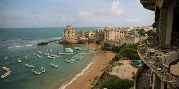 View of Mogadishu fishing harbour from the Aruba Hotel