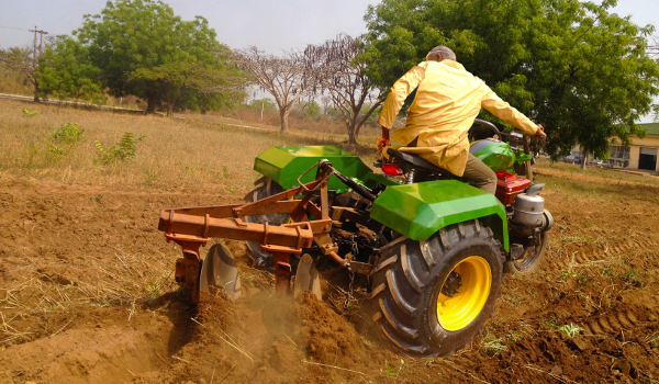 The Tryctor ploughing a field.