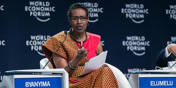 Winnie Byanyima, executive director of Oxfam International, speaking at the World Economic Forum on Africa 2016 in Kigali, Rwanda. Photo by World Economic Forum / Benedikt von Loebell.