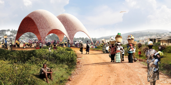 Artist's impression: Droneport exterior payload drop. Picture supplied by Foster + Partners.