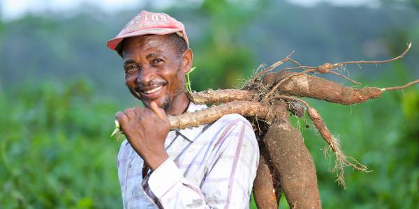 AGRO-HUB beneficiary Ngwaka Alfred Elumpe at his farm