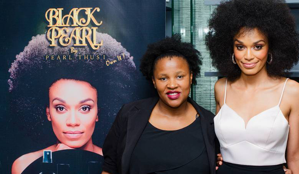 Ntombenhle Khathwane (left) with Pearl Thusi (right), showcasing their Black Pearl Collection.
