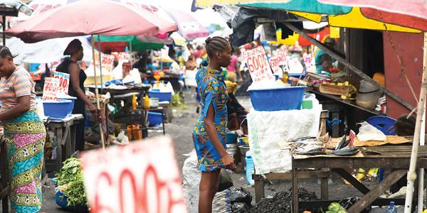 An open-air market in Kinshasa, DRC