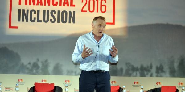Nick Hughes speaking at The MasterCard Foundation Symposium on Financial Inclusion last week in Kigali, Rwanda.