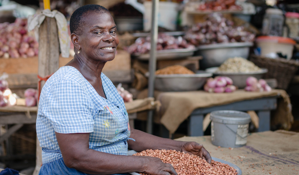 Naa Koshi, an informal trader of groundnuts in Ghana, is one of the clients of the country's new micro-pension scheme, the People's Pension Trust Ghana (PPTG).
