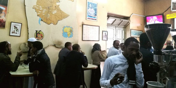 A bustling coffee shop in Ethiopia's capital Addis Ababa