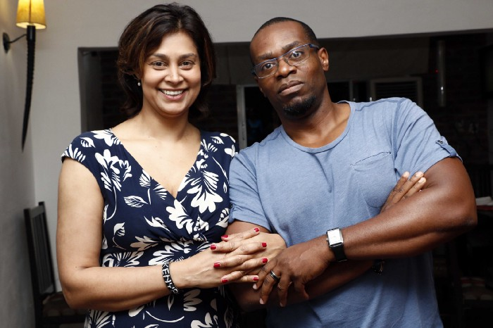 Zain Verjee and Chidi Afulezi during the early days of aKoma in Lagos, Nigeria 2017.