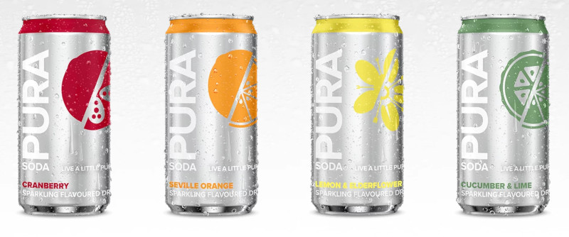 Pura Soda has flavours such as Seville orange, cucumber and lime, and lemon and elderflower.