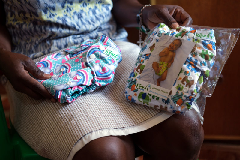 Packaged Kijani diapers.