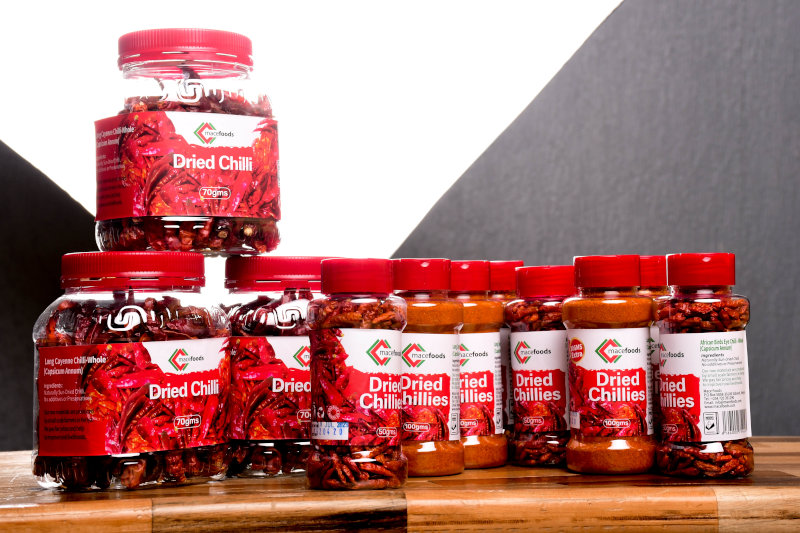 A selection of Mace Foods' packaged chilli products.