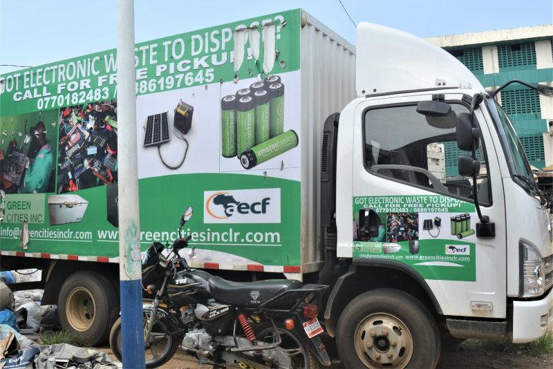 A Green Cities truck in Monrovia, Liberia.