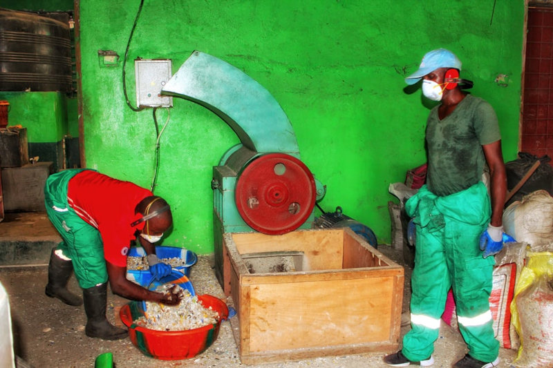 Recycling of plastic waste at Green Cities' factory.