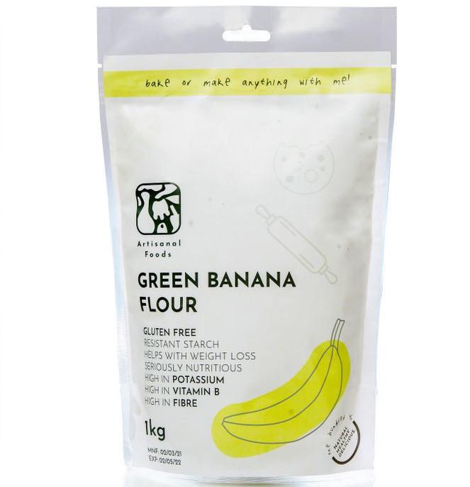 A packet of green banana flour.